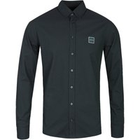 BOSS Masboot Slim Fit Long Sleeve Onyx Black Cotton Shirt