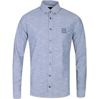 BOSS Masboot Slim Fit Long Sleeve Light Grey Cotton Shirt