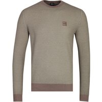 BOSS Kollege Crew Neck Khaki Green Knitted Sweater
