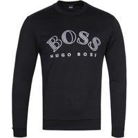 BOSS Salbo Large White Logo Black Sweatshirt