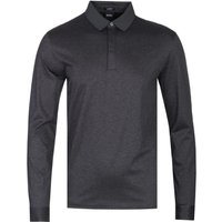 BOSS Phillian Long Sleeve Mercerised Cotton Charcoal Polo Shirt