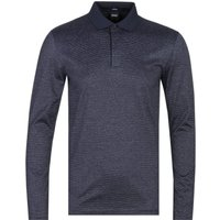 BOSS Pleins 12 Mercerized Long Sleeve Slim Fit Black Polo Shirt