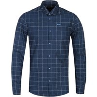 BOSS Bertillo Logo Checked Navy Slim Fit Shirt