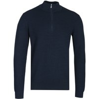 BOSS Oro Zip Neck Navy Knitted Sweater