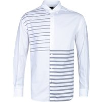 BOSS Noah Relaxed Fit Stripe Detail Long Sleeve White Shirt