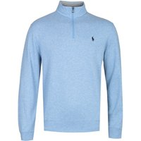 Polo Ralph Lauren Aviator Heather Blue Zip Neck Sweatshirt