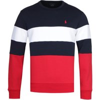 Polo Ralph Lauren Block Stripe Navy, Red & White Crew Neck Sweatshirt