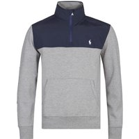 Polo Ralph Lauren Quarter-Zip Nylon Panel Grey Sweatshirt