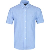 Polo Ralph Lauren Custom Fit Seersucker Sky Blue Stripe Short Sleeve Shirt