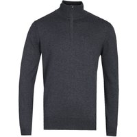 Belstaff Anthracite Grey Zip Neck Bay Knit Sweater