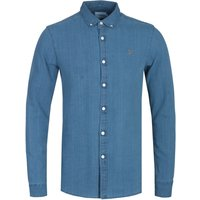 Farah Brewer Slim Fit Stone Wash Indigo Long Sleeve Shirt