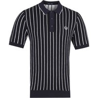 Fred Perry Contrast Stripe Navy Knitted Polo Shirt