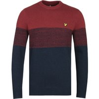 Lyle & Scott Chest Panel Brick Red & Dark Navy Crew Neck Sweater