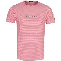 Replay Fine Stripe Script Logo Red T-Shirt