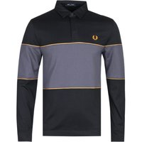 Fred Perry Long Sleeve Panelled Black & Charcoal Polo Shirt