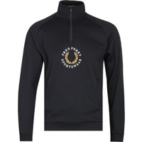 Fred Perry Black Zip Neck Logo Sweatshirt