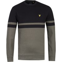 Lyle & Scott Panel Stripe Black & Olive Crew Neck Sweater