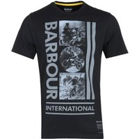 Barbour International Tailored Fit Large Monochrome Print Black T-Shirt