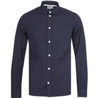 Norse Projects Thorsten Seersucker Navy Long Sleeve Shirt