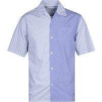 Norse Projects Carsten Panel Stripe Blue Poplin Short Sleeve Shirt