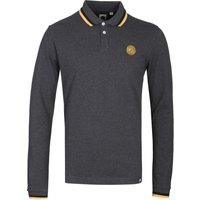 Pretty Green Standard Long Sleeve Charcoal Polo Shirt