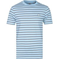 Pretty Green Complex Stripe Sky Blue T-Shirt