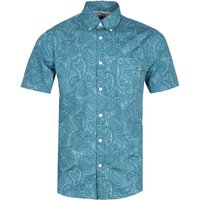 Pretty Green Slim Fit Linear Paisley Blue Shirt