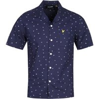 Lyle and Scott Resort Print Short Sleeve Navy Shirt