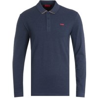 HUGO Donol Organic Cotton Reverse Logo Blue Long Sleeve Polo Shirt