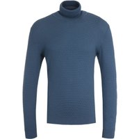 HUGO Smati Organic Cotton Blue Roll Neck Sweater