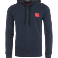HUGO Logo Patch Sustainable Zip Hooded Sweatshirt - Navy