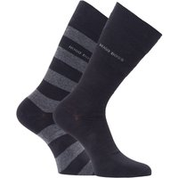 BOSS Bodywear 2 Pack Sustainable Block Stripe Socks - Black