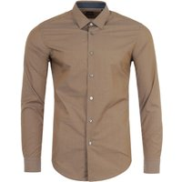 BOSS Ronni Awatti Cotton Slim Fit Shirt - Light Brown