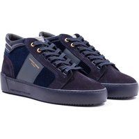 Android Homme Propulsion Mid Stingray Navy Velvet Leather Trainers