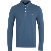 Farah Ricky Organic Cotton Long Sleeve Polo Shirt - Metal Blue