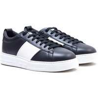 Emporio Armani Contrast Leather Trainers - Navy