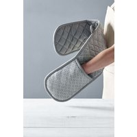Next Grey Geo Double Oven Gloves - Grey