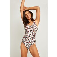 Womens F&F Multi Red Animal Swimsuit - Natural