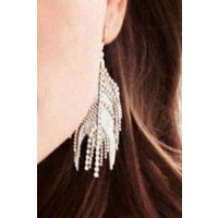 Womens Next Silver Tone Jewelled Feather Effect Earrings - Silver