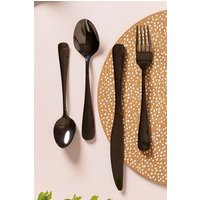 Next 16 Piece Brush Pewter Effect Cutlery Set - Black