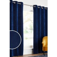 Next Soft Velour Eyelet Lined Curtains - Blue