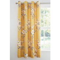 Catherine Lansfield Canterbury Eyelet Curtains - Yellow