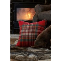 Next Crafted Thornly Woven Check Cushion - Red