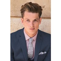 Mens Next Grey/White Floral Cotton Tie And Pocket Square - Grey