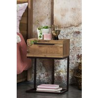 Next Bronx Metal Slim 1 Drawer Bedside Table - Brown