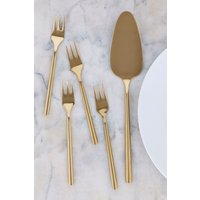 Next Set of 4 Cake Forks With Cake Slice - Gold