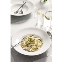Next Set of 4 White Rim Pasta Bowls - White