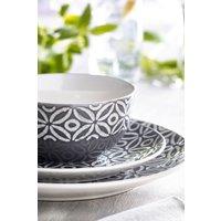 Next 12 Piece Geo Leaf Dinner Set - Grey