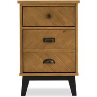 Next Hoxton Chevron 3 Drawer Bedside Table - Brown