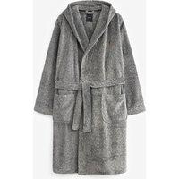 Mens Next Grey Hooded Robe - Grey